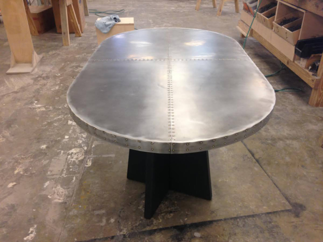 Sheet Zinc with Rivets Statement Table - La Bastille