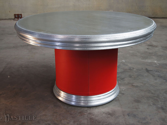 Cast Pewter Statement Table with Red Leather Base - La Bastille