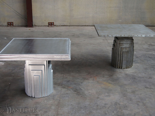 Cast Pewter and Sheet Zinc with Rivets Statement Table - La Bastille