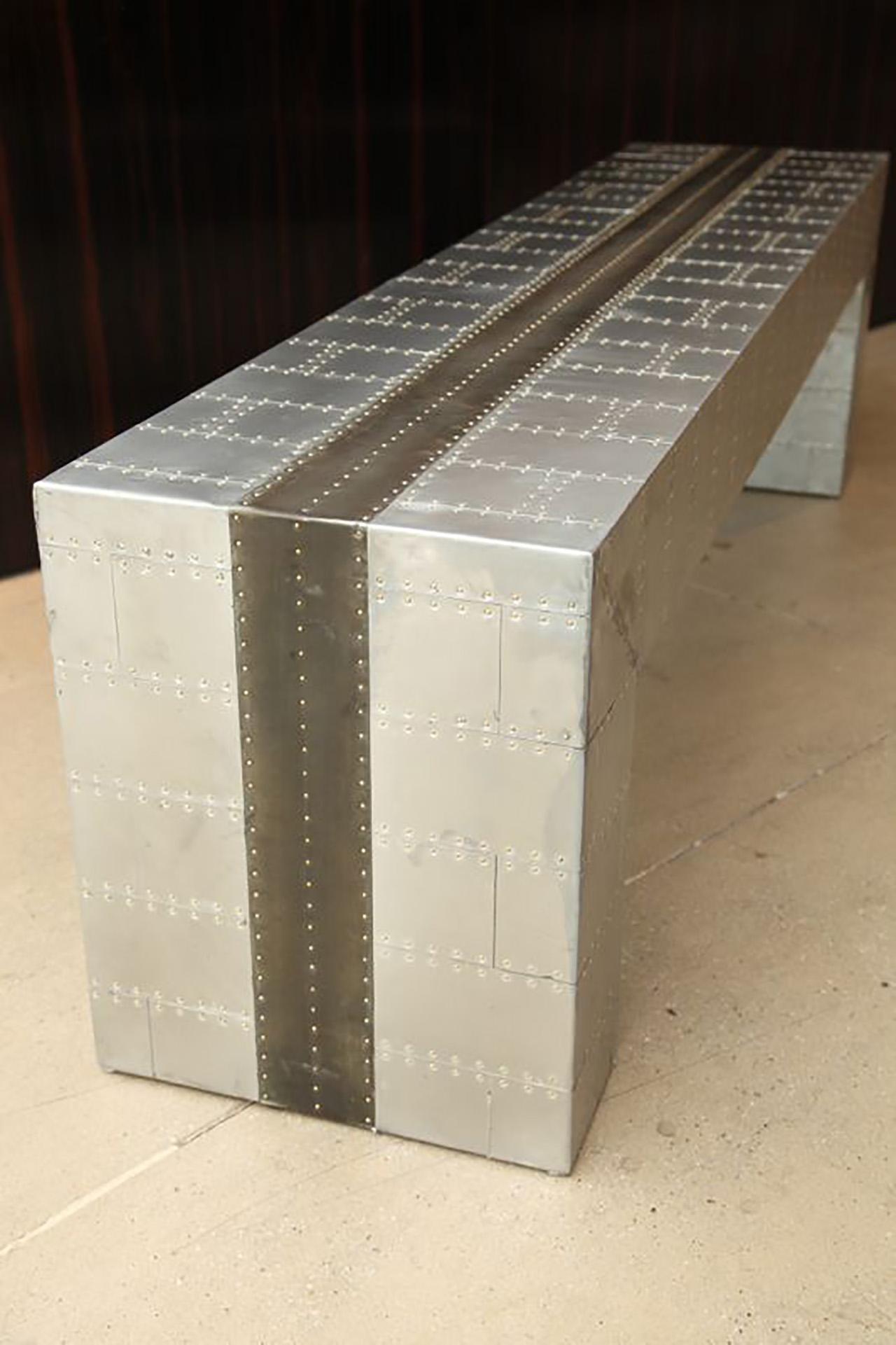 Sheet Zinc with Rivets Bench - La Bastille